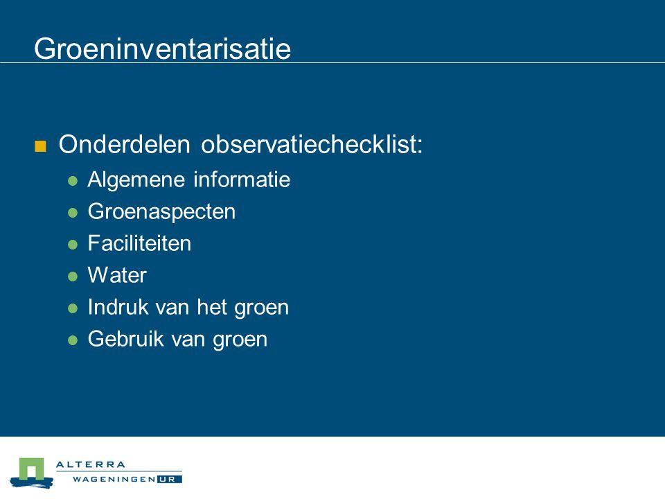 Groeninventarisatie Onderdelen observatiechecklist: