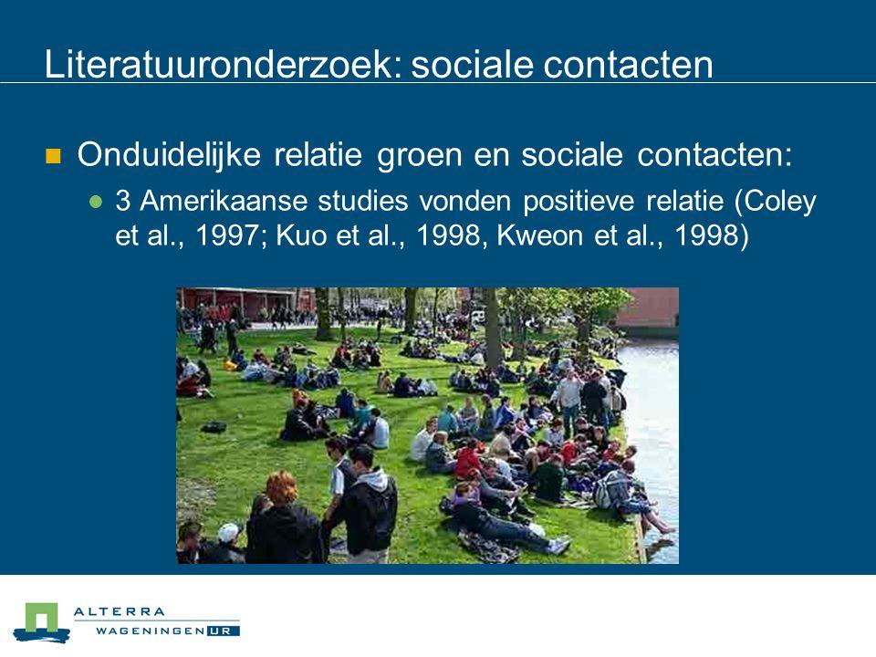 Literatuuronderzoek: sociale contacten