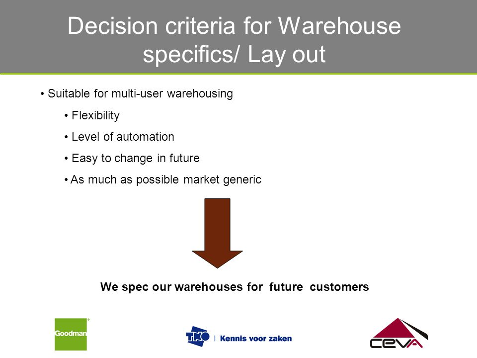 Decision criteria for Warehouse specifics/ Lay out