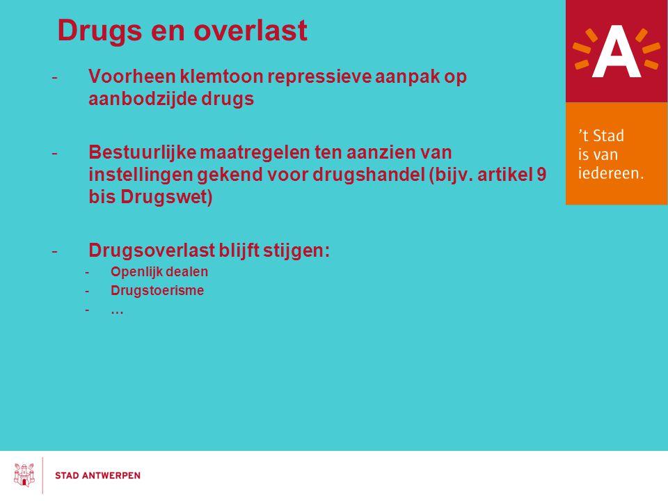Drugs en overlast Voorheen klemtoon repressieve aanpak op aanbodzijde drugs.