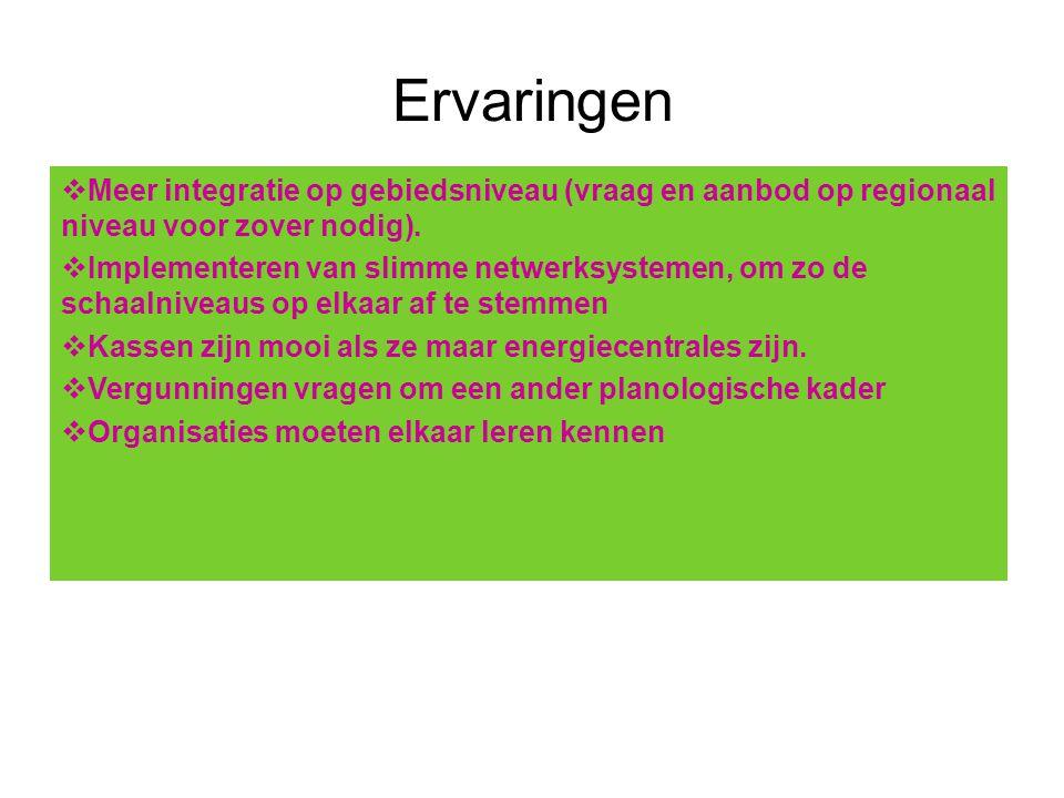 Ervaringen Meer integratie op gebiedsniveau (vraag en aanbod op regionaal niveau voor zover nodig).