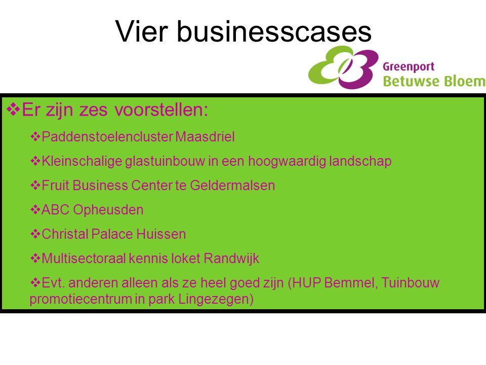 Vier businesscases Er zijn zes voorstellen: