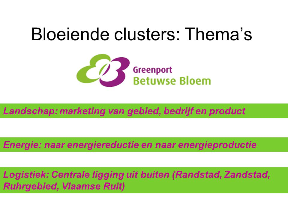 Bloeiende clusters: Thema's