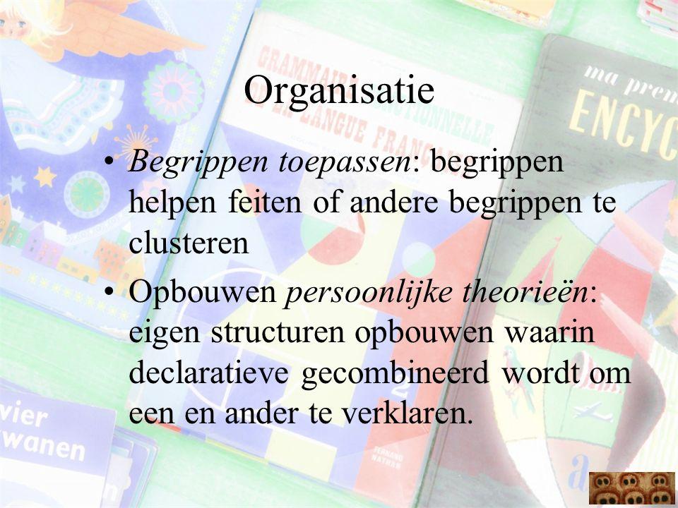 Organisatie Begrippen toepassen: begrippen helpen feiten of andere begrippen te clusteren.