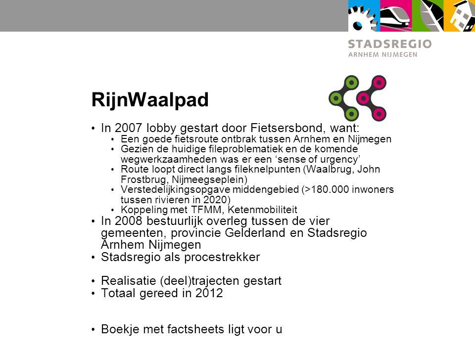 RijnWaalpad In 2007 lobby gestart door Fietsersbond, want: