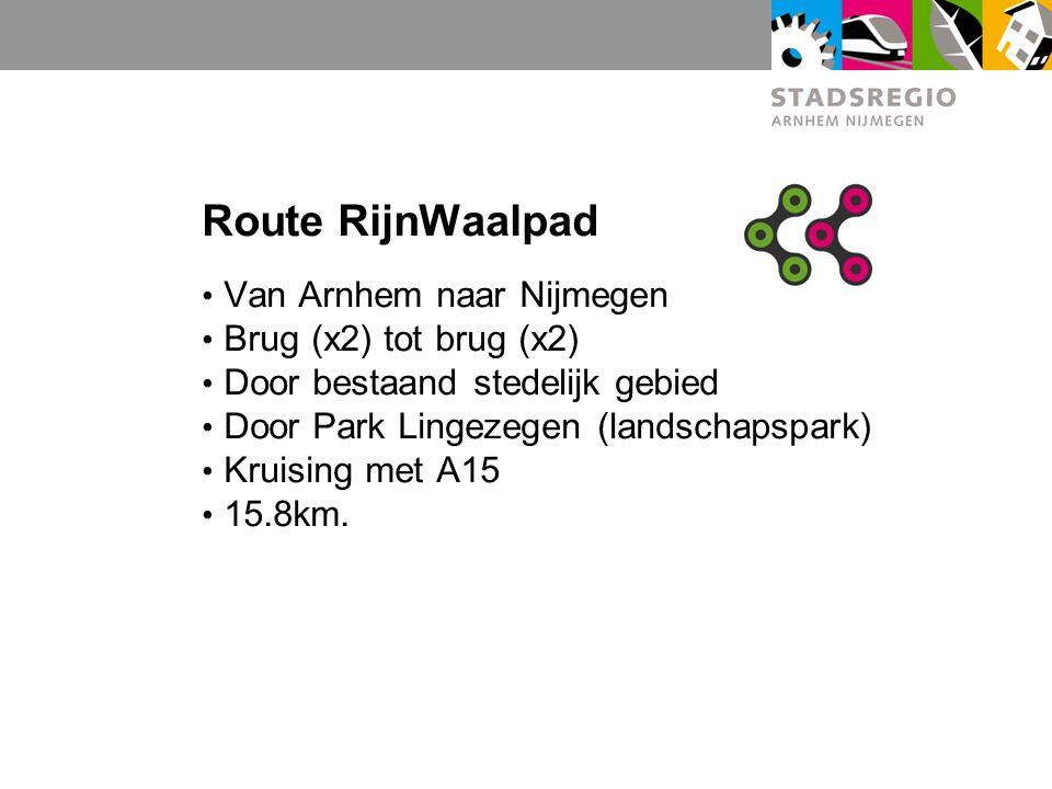 Route RijnWaalpad Van Arnhem naar Nijmegen Brug (x2) tot brug (x2)