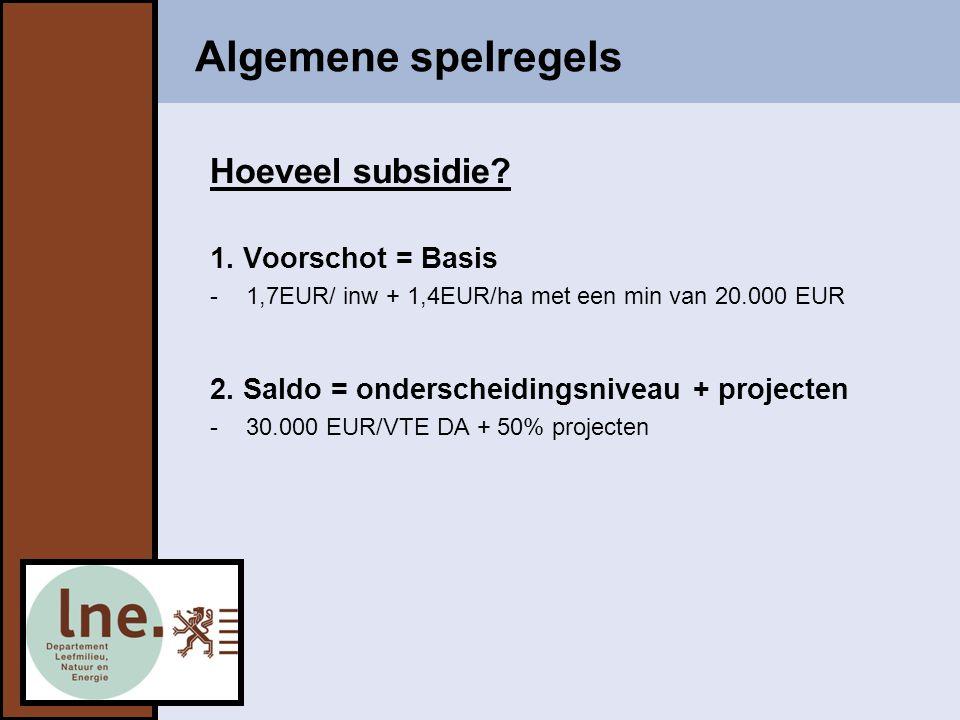 Algemene spelregels Hoeveel subsidie 1. Voorschot = Basis