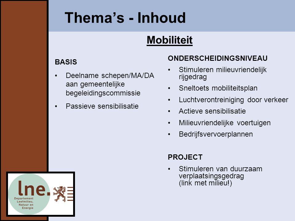 Thema's - Inhoud Mobiliteit ONDERSCHEIDINGSNIVEAU BASIS