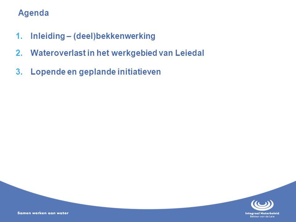 Agenda Inleiding – (deel)bekkenwerking. Wateroverlast in het werkgebied van Leiedal.