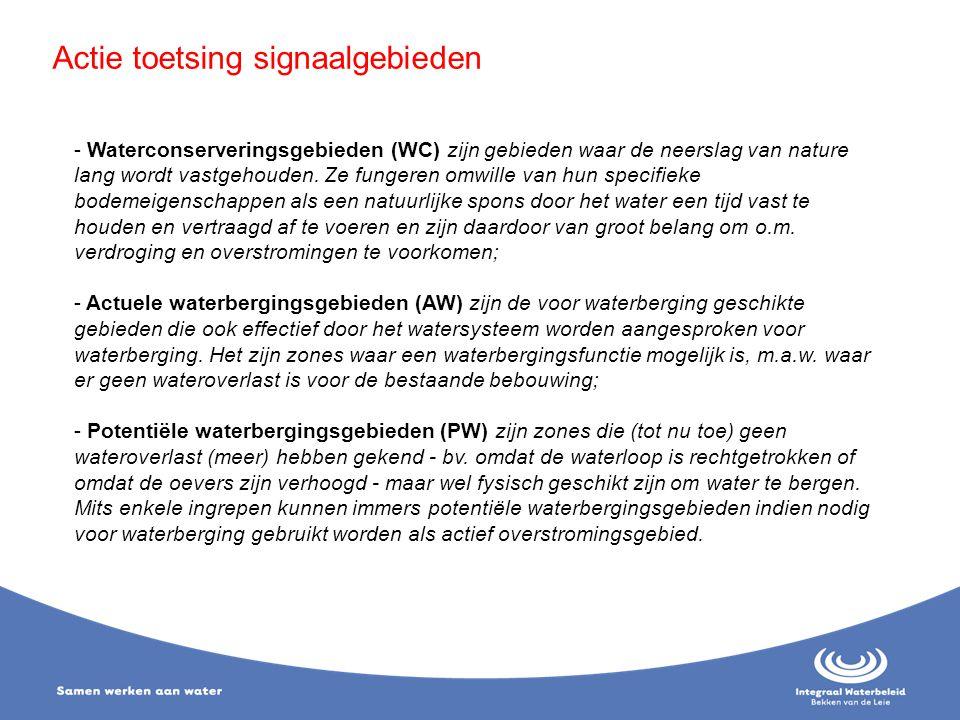 Actie toetsing signaalgebieden