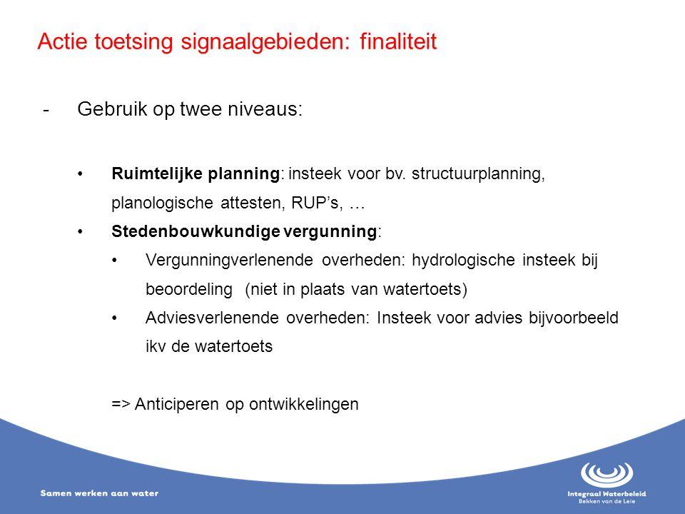 Actie toetsing signaalgebieden: finaliteit