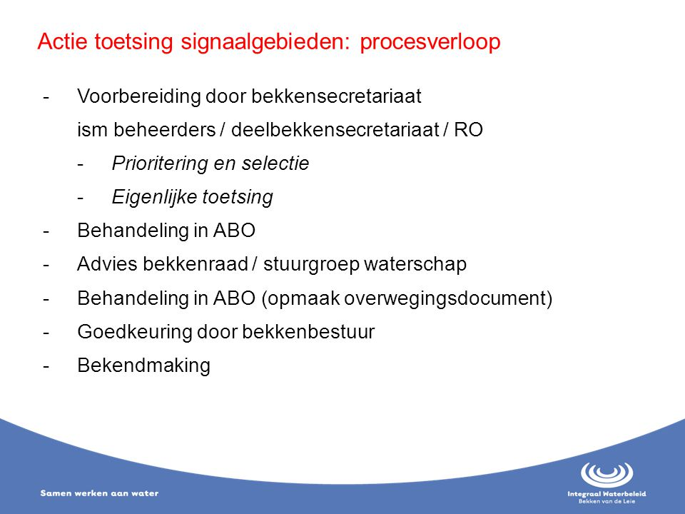 Actie toetsing signaalgebieden: procesverloop