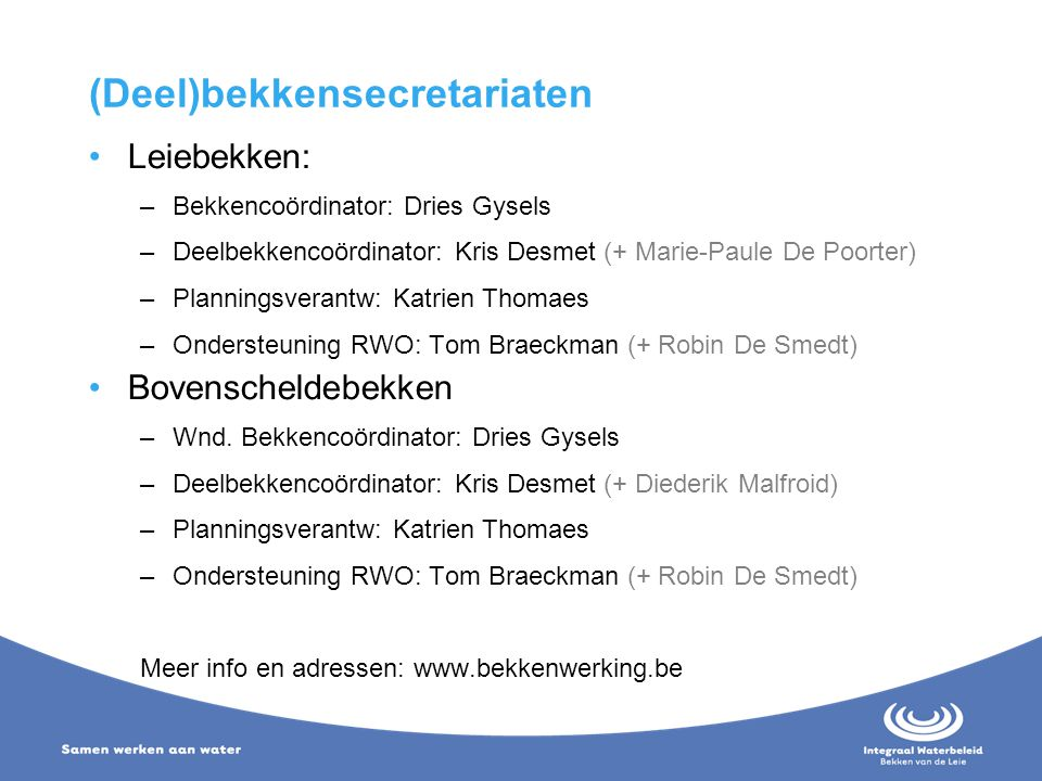 (Deel)bekkensecretariaten