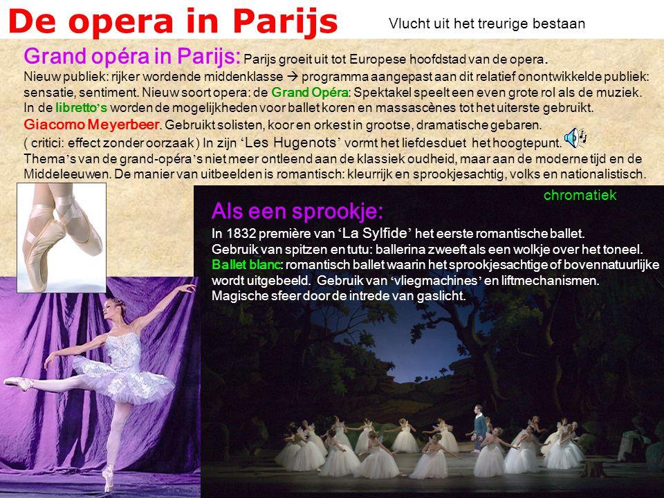 De opera in Parijs Vlucht uit het treurige bestaan.