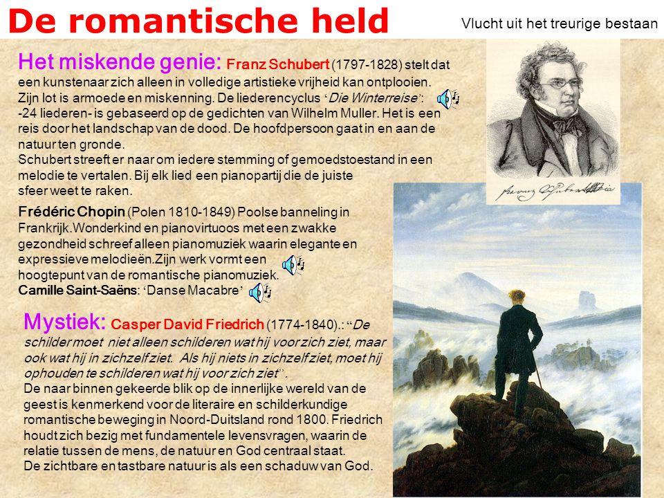 De romantische held Vlucht uit het treurige bestaan.