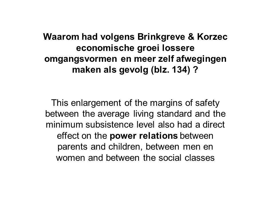Waarom had volgens Brinkgreve & Korzec economische groei lossere omgangsvormen en meer zelf afwegingen maken als gevolg (blz. 134)