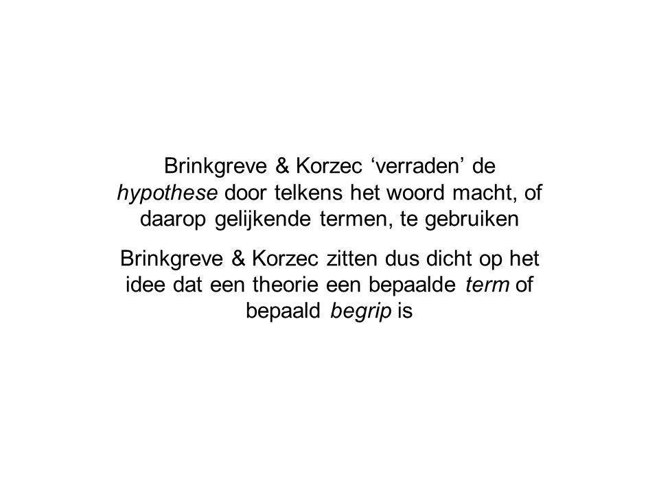 Brinkgreve & Korzec 'verraden' de hypothese door telkens het woord macht, of daarop gelijkende termen, te gebruiken