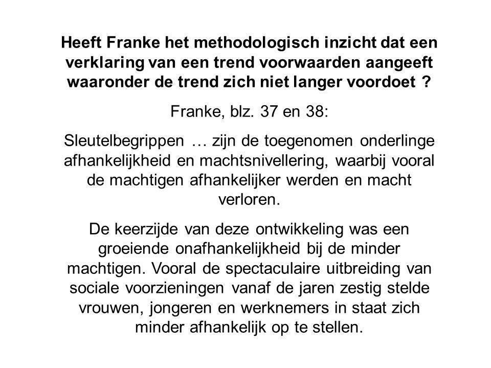 Heeft Franke het methodologisch inzicht dat een verklaring van een trend voorwaarden aangeeft waaronder de trend zich niet langer voordoet
