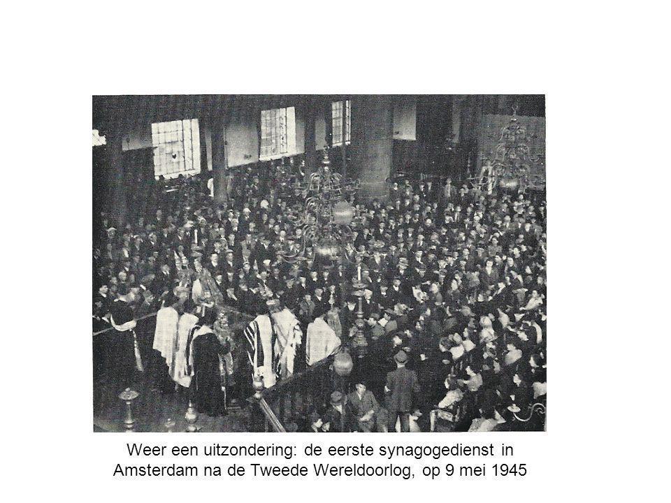 Weer een uitzondering: de eerste synagogedienst in Amsterdam na de Tweede Wereldoorlog, op 9 mei 1945