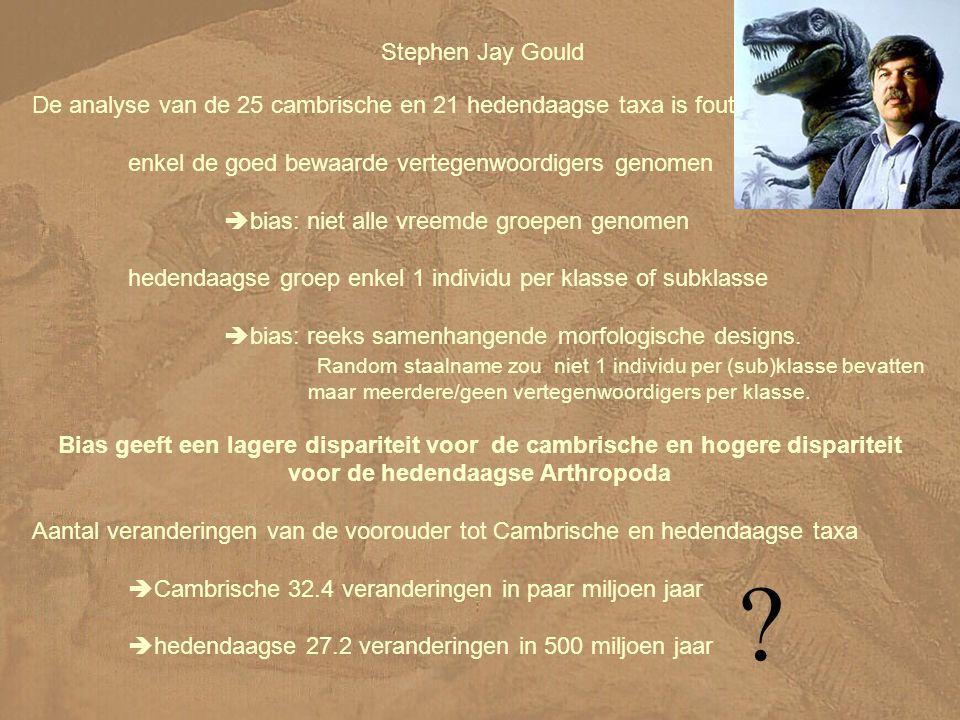 Stephen Jay Gould De analyse van de 25 cambrische en 21 hedendaagse taxa is fout. enkel de goed bewaarde vertegenwoordigers genomen.