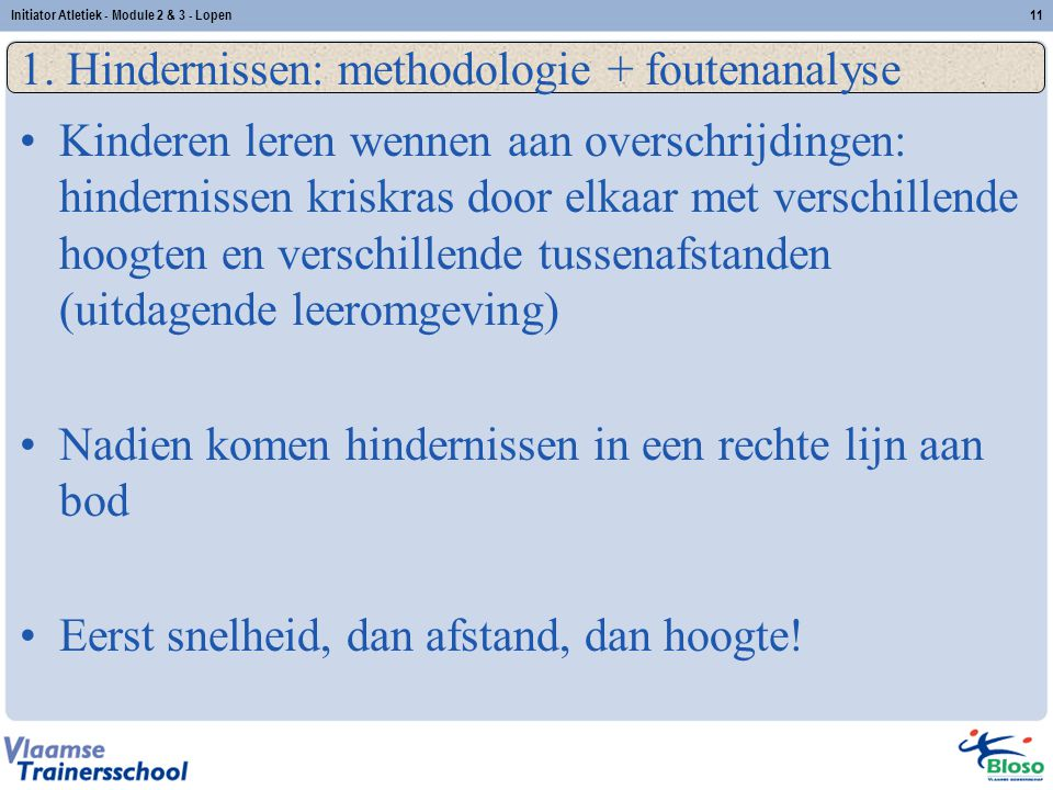 1. Hindernissen: methodologie + foutenanalyse