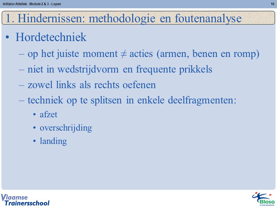 1. Hindernissen: methodologie en foutenanalyse