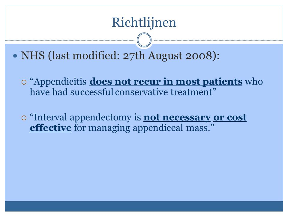 Richtlijnen NHS (last modified: 27th August 2008):