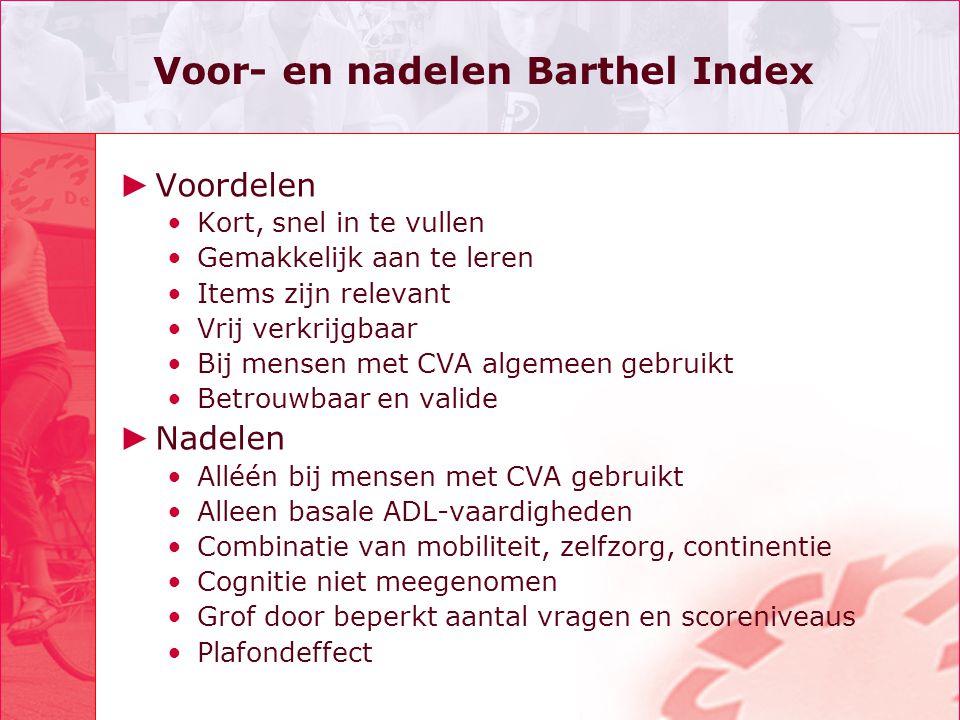 Voor- en nadelen Barthel Index