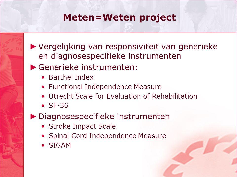 Meten=Weten project Vergelijking van responsiviteit van generieke en diagnosespecifieke instrumenten.