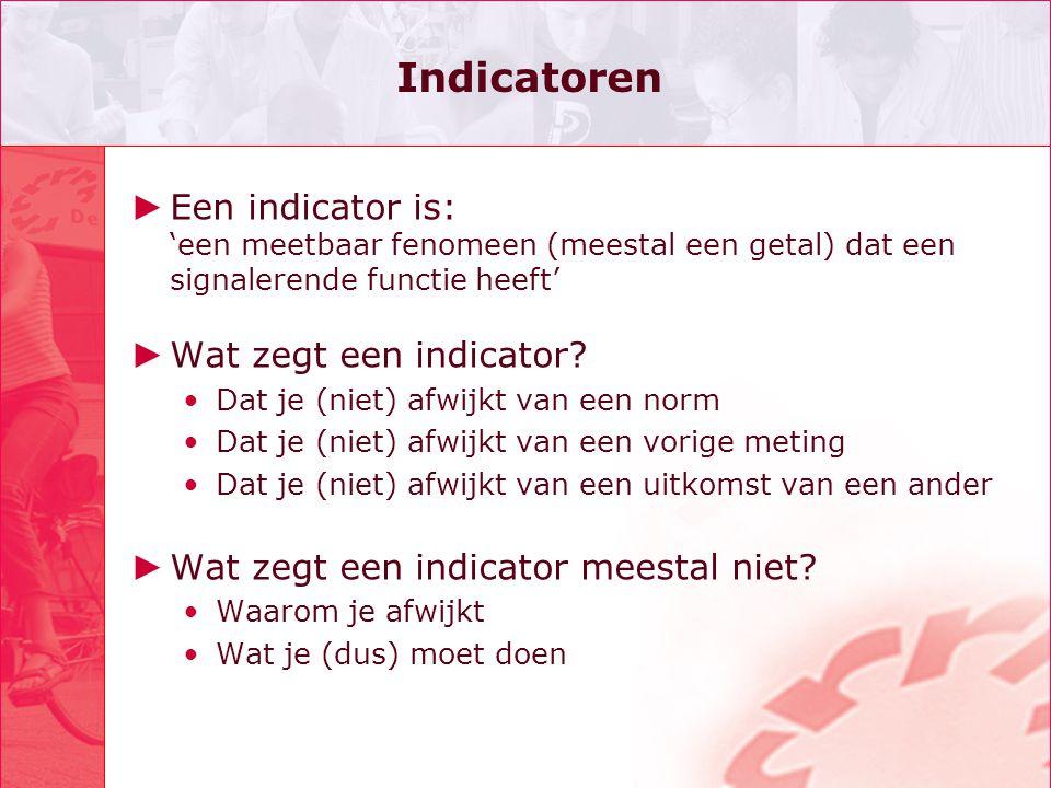 Indicatoren Een indicator is: 'een meetbaar fenomeen (meestal een getal) dat een signalerende functie heeft'