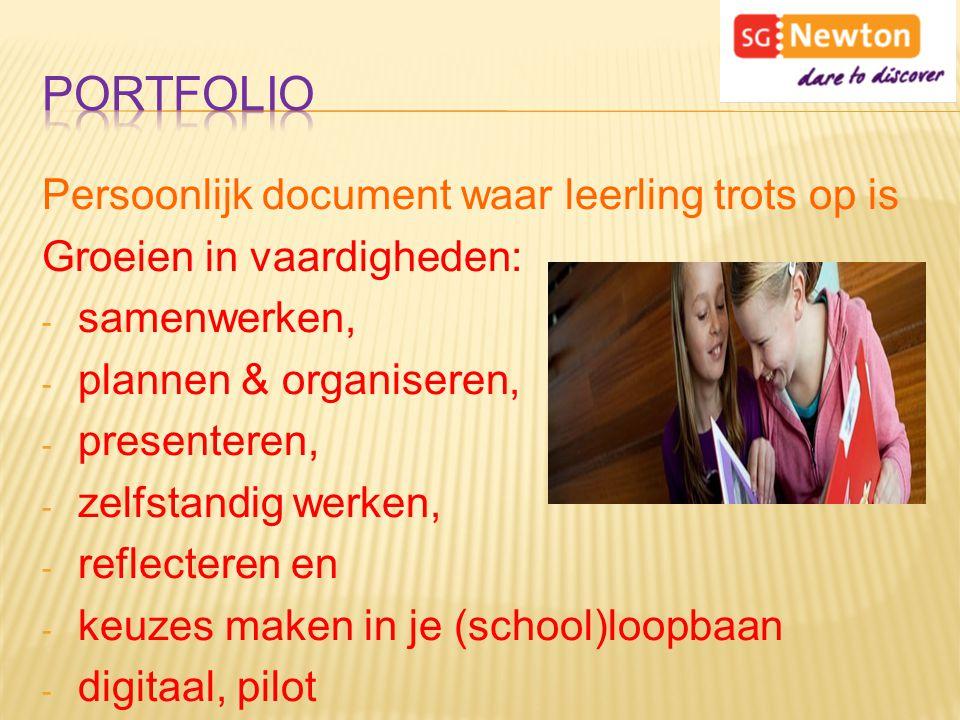 Portfolio Persoonlijk document waar leerling trots op is