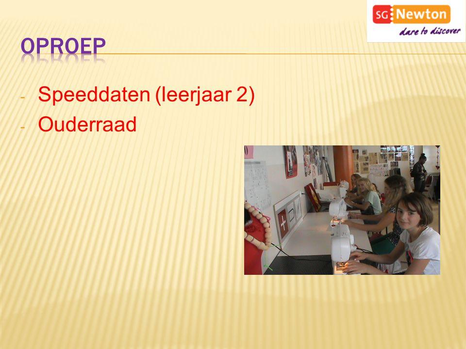 Oproep Speeddaten (leerjaar 2) Ouderraad