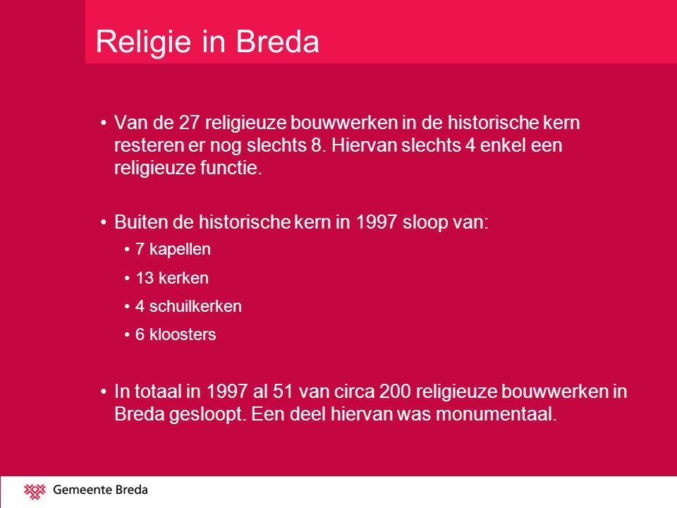 Religie in Breda Van de 27 religieuze bouwwerken in de historische kern resteren er nog slechts 8. Hiervan slechts 4 enkel een religieuze functie.