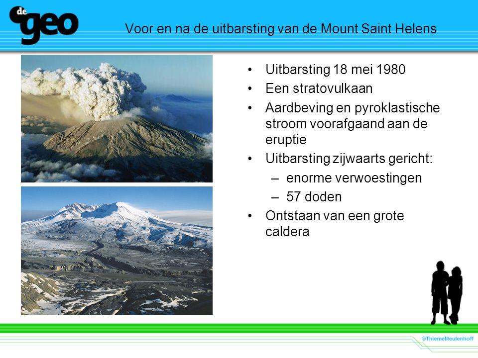 Voor en na de uitbarsting van de Mount Saint Helens
