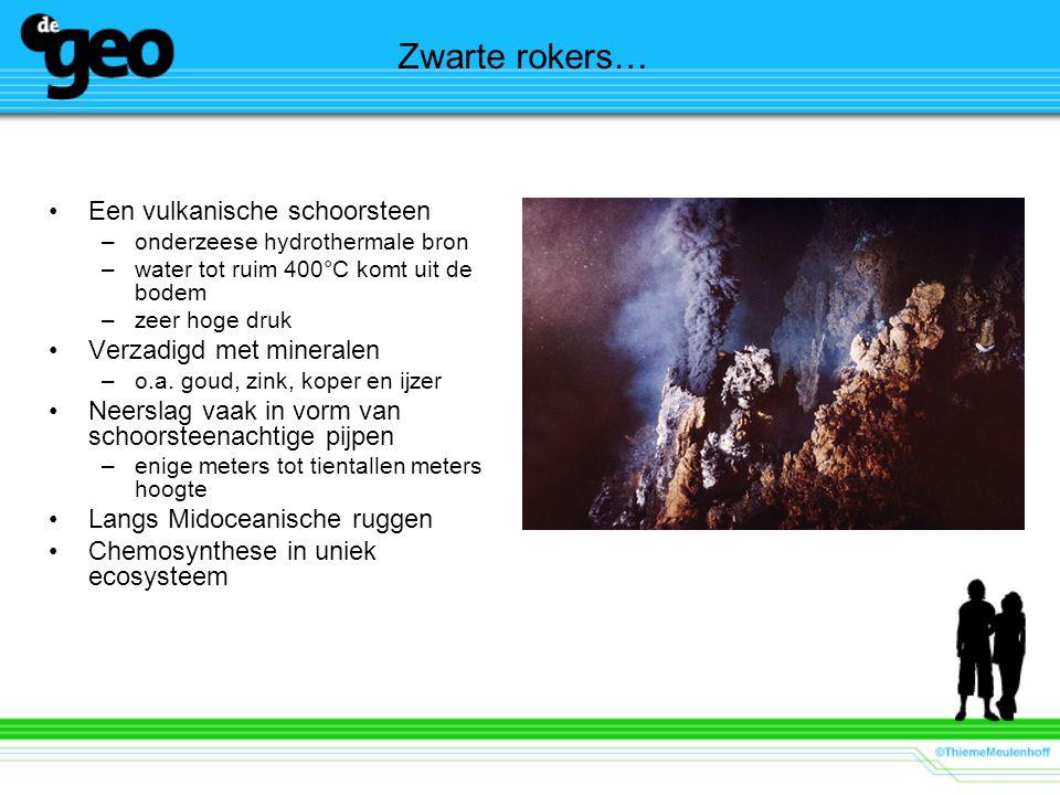 Zwarte rokers… Een vulkanische schoorsteen Verzadigd met mineralen