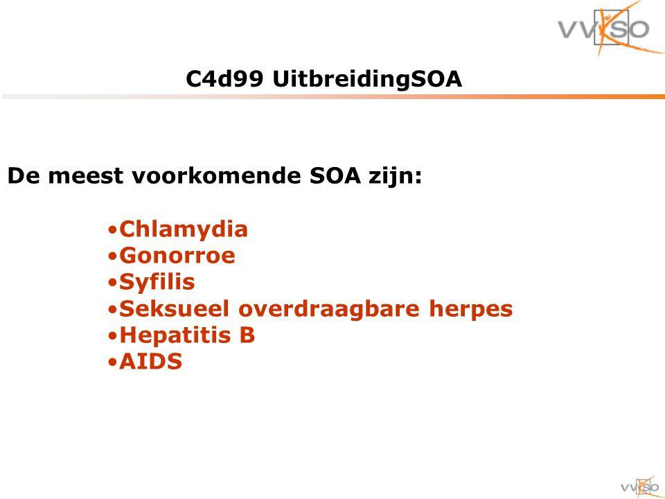 C4d99 UitbreidingSOA De meest voorkomende SOA zijn: Chlamydia. Gonorroe. Syfilis. Seksueel overdraagbare herpes.