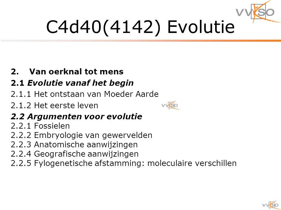 C4d40(4142) Evolutie Van oerknal tot mens 2.1 Evolutie vanaf het begin
