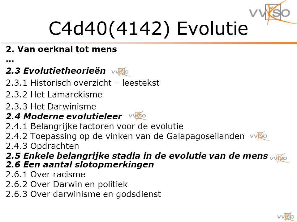 C4d40(4142) Evolutie 2. Van oerknal tot mens … 2.3 Evolutietheorieën