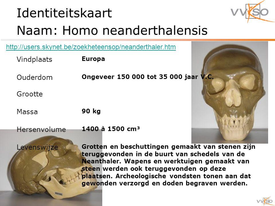 Identiteitskaart Naam: Homo neanderthalensis