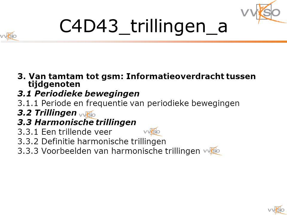 C4D43_trillingen_a 3. Van tamtam tot gsm: Informatieoverdracht tussen tijdgenoten. 3.1 Periodieke bewegingen.