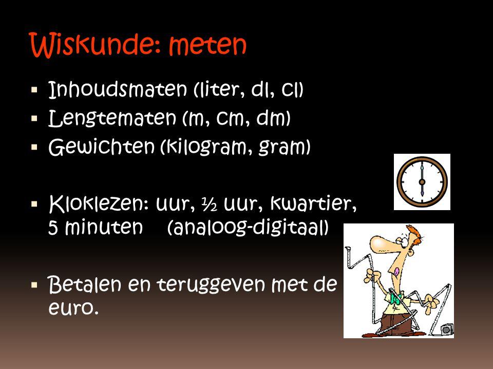 Wiskunde: meten Inhoudsmaten (liter, dl, cl) Lengtematen (m, cm, dm)