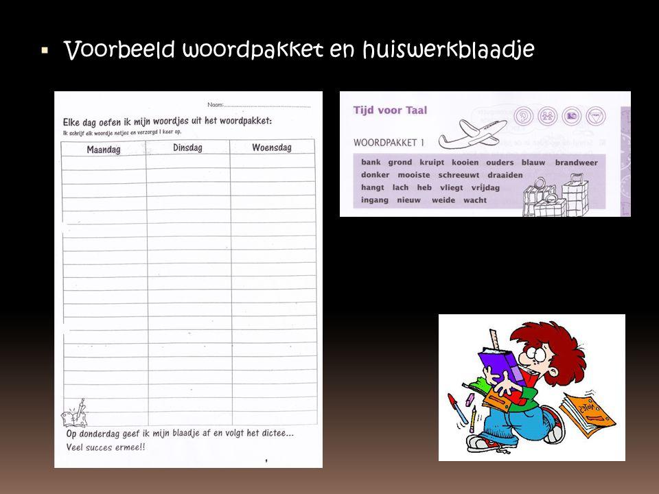 Voorbeeld woordpakket en huiswerkblaadje