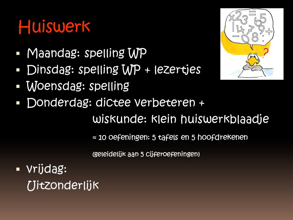Huiswerk Maandag: spelling WP Dinsdag: spelling WP + lezertjes