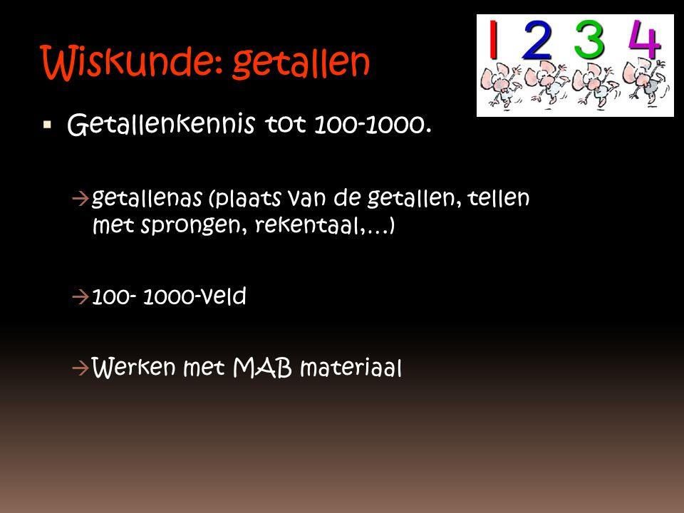 Wiskunde: getallen Getallenkennis tot 100-1000.