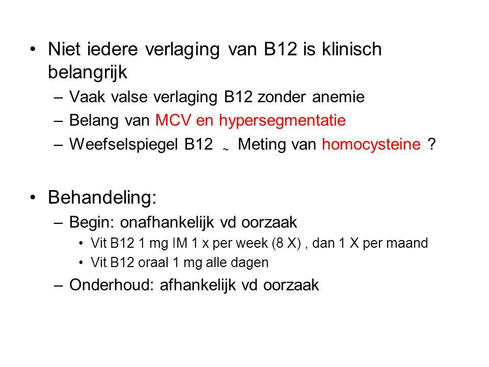 Niet iedere verlaging van B12 is klinisch belangrijk