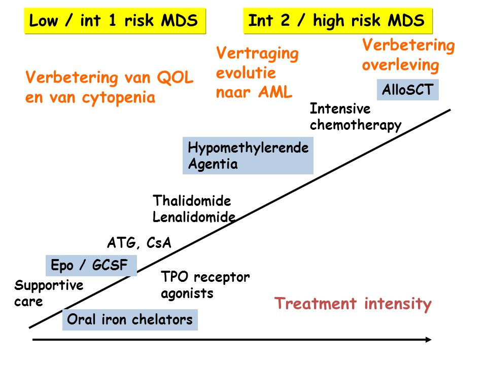 Low / int 1 risk MDS Int 2 / high risk MDS Verbetering overleving