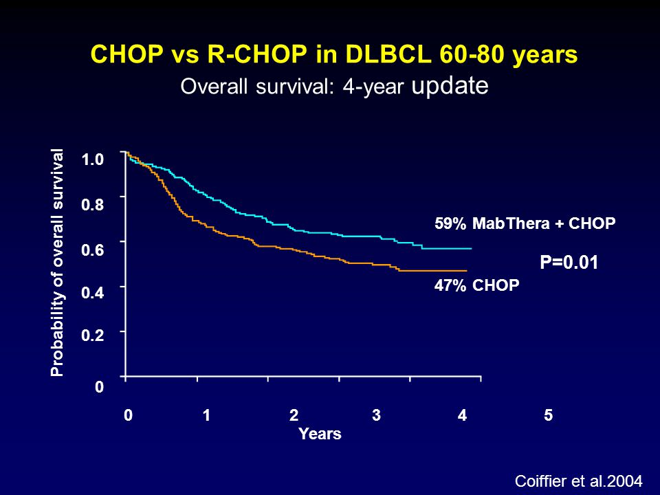 CHOP vs R-CHOP in DLBCL 60-80 years Overall survival: 4-year update