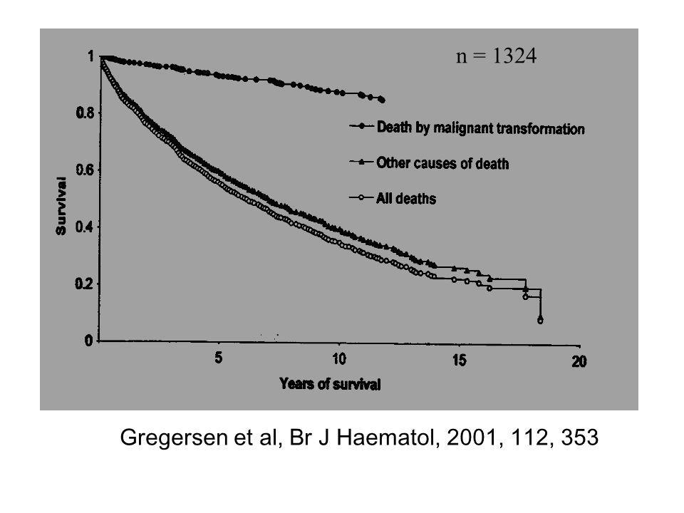 n = 1324 Gregersen et al, Br J Haematol, 2001, 112, 353