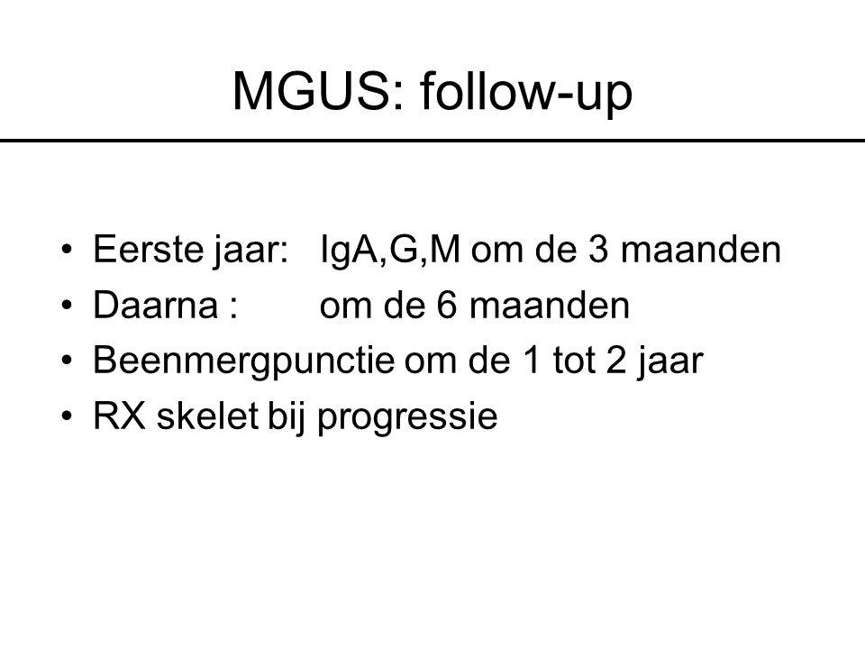 MGUS: follow-up Eerste jaar: IgA,G,M om de 3 maanden