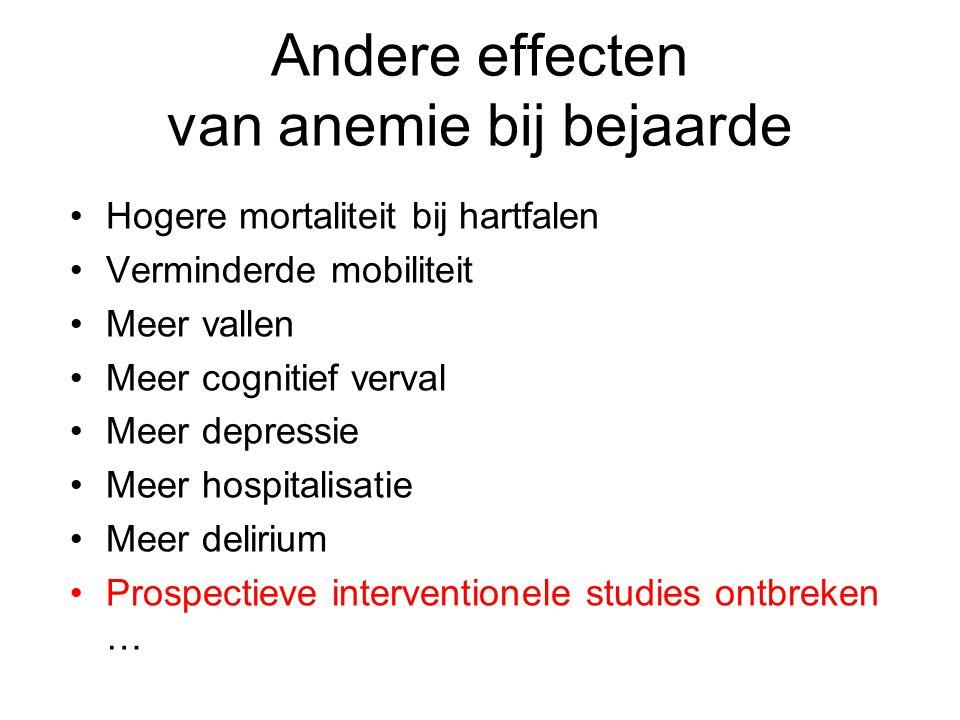Andere effecten van anemie bij bejaarde